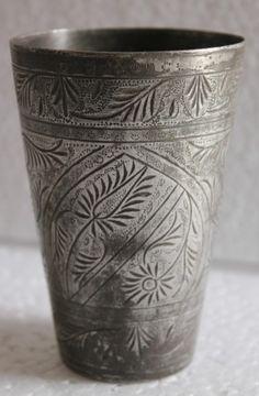Antique Vintage Beautiful hand carved Design Brass Lassi / Milk Glass # 5
