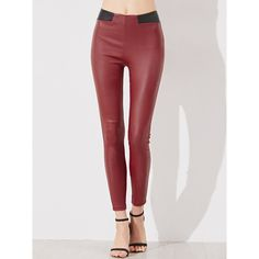 SheIn(sheinside) Red Contrast Waist Coated Leggings (28 BAM) ❤ liked on Polyvore featuring pants, leggings, red, red trousers, viscose pants, color block leggings, stretch pants and red stretch pants