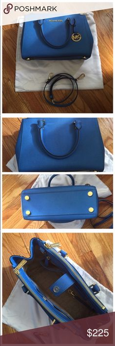 Michael Kors Small Sutton Satchel Heritage Blue Michael Kors small Sutton Satchel. Heritage blue. Comes with dustbag, care card, and removable shoulder strap. Gold hardware. Purchased from the Michael Kors in my mall last year. Excellent condition looks new, barely ever used, no flaws. No rips, tears, or stains. Michael Kors Bags