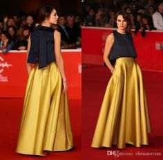 Fashion Gold Two Pieces Prom Dresses 2018 O-Neck Satin Evening Gowns Rome Film Festival Celebrity Dress With Pockets Hot Party Gowns celebrity dresses Girls Pageant Dresses, Prom Dresses 2016, Formal Dresses, Long Skirt Formal, Dress Prom, Fashion Mode, Look Fashion, Gold Two Piece Prom Dress, Two Piece Gown