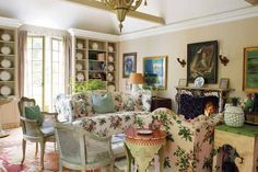 flowered chintz in garden room of Nicky Haslam country folly