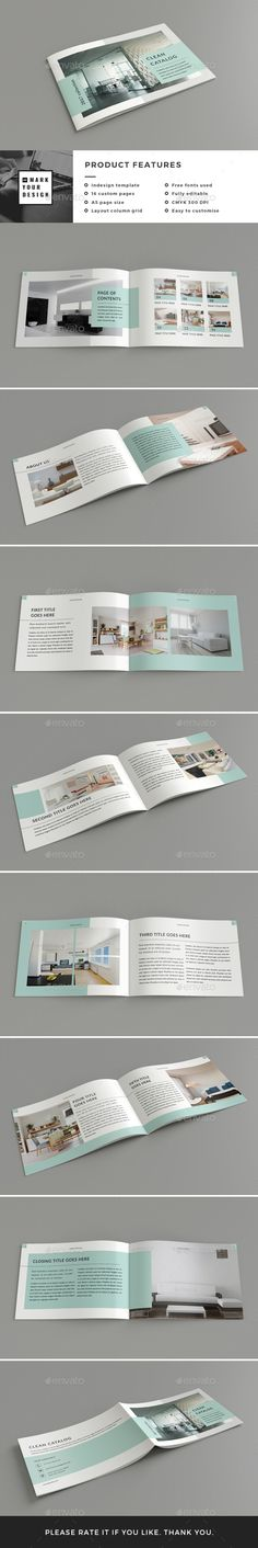 Clean Catalog — InDesign INDD #catalog #promotional • Download ➝ https://graphicriver.net/item/clean-catalog/19135687?ref=pxcr