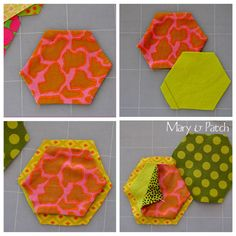 10 Hexagons, a pincushion! Key Pouch, Back Stitch, Pin Cushions, Purses And Bags, Projects To Try, Patches, Quilts, Sewing, Crafts