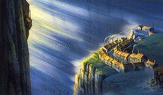 Film: Castle In The Sky ===== Background Design: Morning at the Mining Town ===== Production Company: Studio Ghibli ===== Director: Hayao Miyazaki ===== Producer: Isao Takahata ===== Written by: Hayao Miyazaki ===== Distributed by: Toei Company