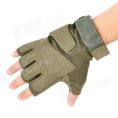 Airsoft HellStorm Tactical Half Finger Gloves - Army Green (Size-XL)  Price: $14.70