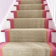 33 Awesome Painted Stairs Ideas To Beautify Your Interior Stairs are the most common place in the home to possess carpet, and yet they are also the trickiest. Choosing carpet for the stairs can be a bit more difficult than choosing carpet for other Staircase Runner, Sisal Stair Runner, Carpet Runner On Stairs, Striped Carpet Stairs, Carpet Staircase, Stair Rugs, Home Interior, Interior Design, Interior Architecture