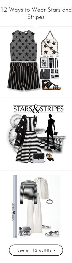 """""""12 Ways to Wear Stars and Stripes"""" by polyvore-editorial ❤ liked on Polyvore featuring starsandstripes, waystowear, Yves Saint Laurent, STELLA McCARTNEY, Americanflat, Clark's Botanicals, MANGO, MAC Cosmetics, Marc Jacobs and Maybelline"""