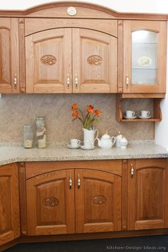 Traditional Medium Wood Golden Kitchen Cabinets From Kitchen