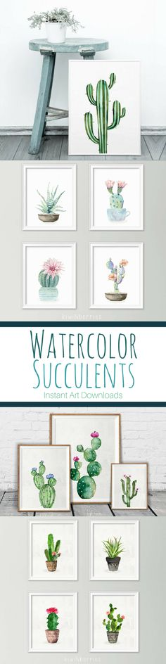 Beautiful watercolor instant art prints of cactus and succulents. Print immediately for gallery walls and home decor. #succulent #cactus #ad #printable #etsyshop