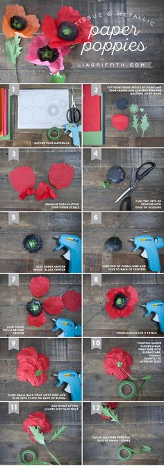 Tissue Paper Poppies - Lia Griffith Paper Poppy Tutorial from MichaelsMakers Lia Griffith If you have a passion for arts and crafts you will love our site! Tissue Paper Flowers, Felt Flowers, Diy Flowers, Fabric Flowers, Tissue Paper Art, Papier Diy, Fleurs Diy, Paper Flower Tutorial, Handmade Flowers