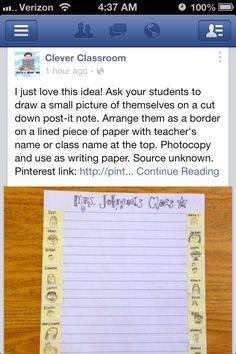 Amazing idea for the beginning of the school year!