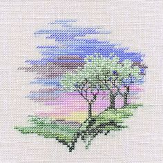 Derwentwater Designs Minuets Cross Stitch Kit - Frosty Trees Design Size (cm) : 10 x 10 Kit Contains Chart and Instructions, Stranded Cotton and needle Threads are pre-sorted and carded Designed by Rose of Derwentwater Complete KitFree UK Delivery Cross Stitch House, Small Cross Stitch, Cross Stitch Tree, Cross Stitch Bookmarks, Cross Stitch Cards, Counted Cross Stitch Kits, Cross Stitch Flowers, Cross Stitch Designs, Cross Stitching