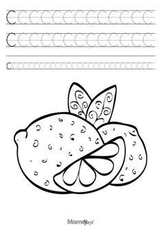 Szlaczki literki do druku – nauka pisania litery C | Mamotoja.pl Paper Trail, Playing Cards, Symbols, Letters, Education, Fruit, Design, Kindergarten, Deutsch