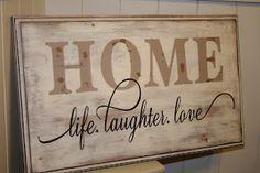 Redefining C: Cabinet Door HOME sign
