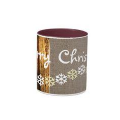 Rustic Snowflakes Christmas Drinking Mug