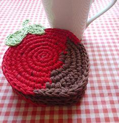 Crochet Strawberry Coasters Red Strawberry от MonikaDesign