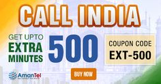 """#AmantelIndiaCalling Offer - Amantel is giving you upto 500% extra minutes for #India #calling from US and Canada. So take your phone and buy your #IndiaCalling plan with put this coupon code - """"EXT-500"""". Hurry up, offer valid from 6th April 16 to 7th April 16. Click here, buy now - http://www.amantel.com/offers/call-india-0616.html"""