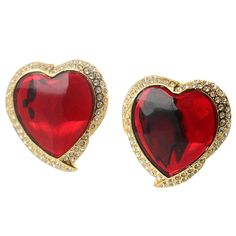 Pair of Heart Shaped Ear Clips by Yves Saint Laurent | From a unique collection of vintage clip-on earrings at http://www.1stdibs.com/jewelry/earrings/clip-on-earrings/