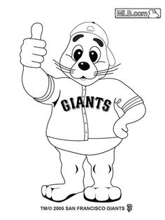 giants coloring pages baseball bat   Several PDFs of coloring pages for MLB mascots. Was ...