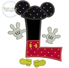 Mickey Mouse Clubhouse L Applique Comes in 3 Sizes