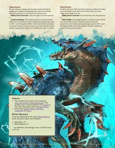Post with 146 votes and 4278 views. Tagged with dnd, edition dnd, dndhomebrew; The Leviakin - Reptilian Dwellers of the Deep Dungeons And Dragons Races, Dungeons And Dragons Classes, Dungeons And Dragons Homebrew, Curious Creatures, Mythical Creatures, Dark Souls, Warlock Dnd, Monster Hunter Games, D D Races