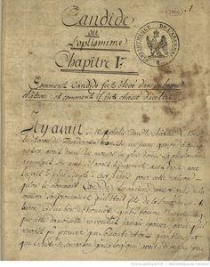 « Candide, ou l'optismime(sic) », par Voltaire  Voltaire (1694-1778).      1701-1800   http://gallica.bnf.fr/ark:/12148/btv1b520001724/f9.highres