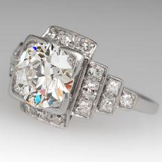 Spectacular 1930's Antique Diamond Engagement Ring Platinum Art Deco