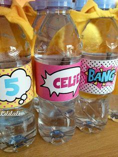 anniversaire super héros les bouteilles d'eau - kit paperzoo printables