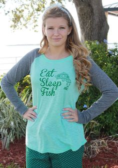 Eat, Sleep, Fish Print Elbow Patch Tee #GIrlsWhoFish #SKOutdoors www.skoutdoors.com