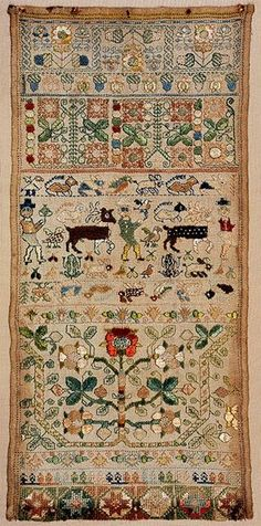 English Band Sampler ~ mid-17th century ~ sampler with bands of flowers, boxer figures, stags and numerous small animals. Worked in floss silks, missing bottom selvedge.