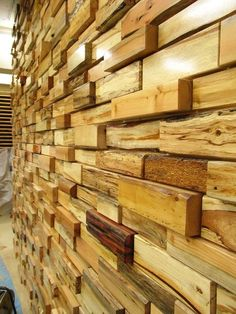 "Love this, driftwood bricks wall covering - but I can hear my mother saying ""how would you clean that?"""