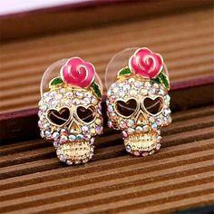Skull Head Crystal Earrings