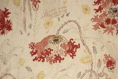 Art Nouveau / Belle Epoque large scale floral design ~ rare French textile ~ ideal for period interiors ~ www.textiletrunk.com