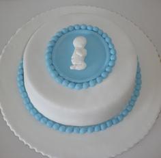 bolo de baptizado azul