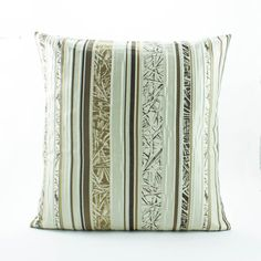 Gold Decorative throw pillow cover 18x18 sham, Gold/Gray/Brown Silk Pillow Bamboo Stripe- Accent pillow Sofa/Couch Pillow,Bamboo leaf.