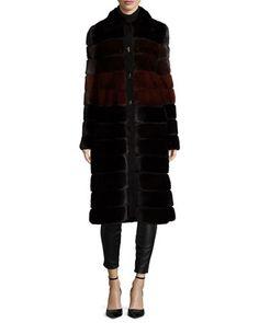 Colorblock Horizontal-Mink Fur Coat, Black/Garnet/Mahogany by J. Mendel at Neiman Marcus.