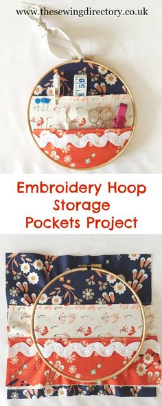 Make a useful storage pocket for sewing bits from an embroidery hoop with this free project