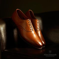 Carlyle in Walnut Burnished - Plain-Toe Lace-Up Oxford Men's Dress Shoes by Allen Edmonds, $365 #allenedmonds www.AllenEdmonds.com