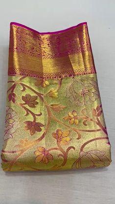 Pattu Sarees Wedding, Wedding Saree Blouse Designs, Pattu Saree Blouse Designs, Fancy Blouse Designs, Gold Silk Saree, Kanjivaram Sarees Silk, Wedding Silk Saree, Bridal Sarees South Indian, South Silk Sarees