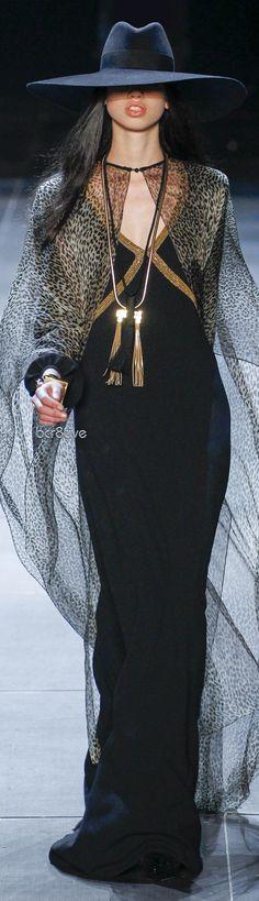 Yves Saint Laurent fedora, wide brim, caftan, polo