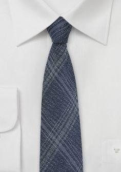 Krawatte Seide Woll-Look navyblau