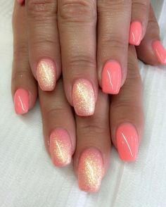 There are three kinds of fake nails which all come from the family of plastics. Acrylic nails are a liquid and powder mix. They are mixed in front of you and then they are brushed onto your nails and shaped. These nails are air dried. Gel Nail Art Designs, Nail Designs Spring, Coral Nail Designs, Coral Nails With Design, Gel Nail Color Ideas, Glitter Nail Designs, Acrylic Nail Designs For Summer, Latest Nail Designs, Manicure Colors