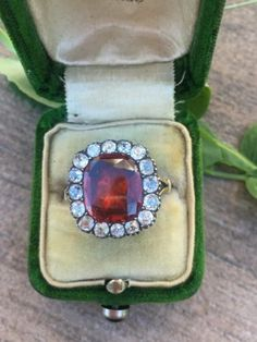 Antique-c1750-Georgian-Era-Foiled-Back-Garnet-and-Mine-Cut-Diamond-Ring-18k-Gold