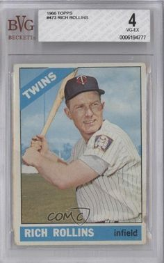 Rich Rollins BVG GRADED 4 Minnesota Twins (Baseball Card) 1966 Topps #473 by Topps. $9.00. 1966 Topps #473 - Rich Rollins BVG GRADED 4