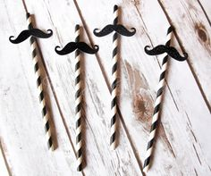 25 Black Glitter Moustache Themed Drinking by CandyCupcakeShop