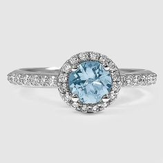 18K White Gold Sapphire Halo Diamond Ring with Side Stones with Petite Shared Prong Diamond Ring // Set with a 6.0mm Round Aquamarine (From Unique Colored Gemstone Gallery) #BrilliantEarth