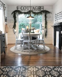Yeah, that's my garland still going strong. It may break off any minute but hey, at least you can't tell it's that crisp from… French Country Farmhouse, Farmhouse Style Kitchen, French Country Decorating, Farmhouse Decor, Rustic Home Design, Cabin Design, House Design, Dining Room Table, Dining Rooms
