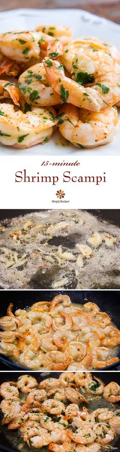Quick and easy shrimp scampi. Shrimp sautéed in easy scampi sauce with garlic, butter, olive oil, and white wine, tossed with red pepper flakes and parsley. Fish Recipes, Seafood Recipes, Great Recipes, Cooking Recipes, Healthy Recipes, Favorite Recipes, Seafood Soup, Simply Recipes, Drink Recipes