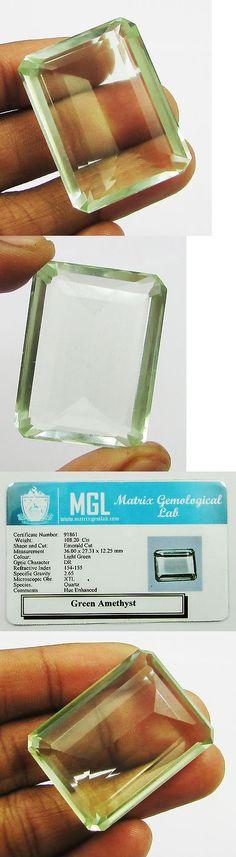 Amethyst 10192: 108.20Ct Certified Green Amethyst Prasiolite Octagon Gem 36X27.3X12.2Mm -> BUY IT NOW ONLY: $79.99 on eBay!