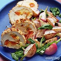 Brie & Apricot-Stuffed Chicken with Sauteed Radishes (Budget Chicken Meals) Turkey Recipes, Chicken Recipes, Chicken Meals, Recipe Chicken, Food Network Recipes, Cooking Recipes, Apricot Recipes, Apricot Chicken, Radish Recipes